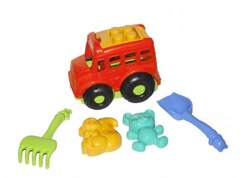 Автобус Бусик с песочным набором красный Colorplast (0091)