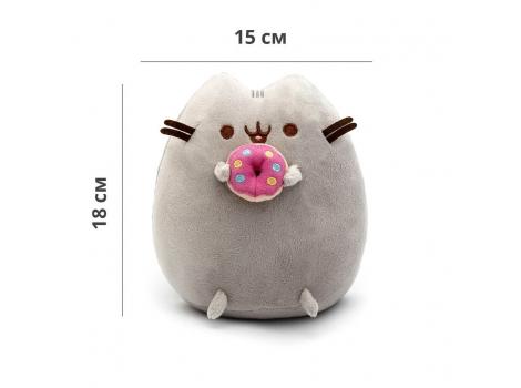 Мягкая игрушка котик с пончиком в лапках Pusheen cat + Подарок (n-747)