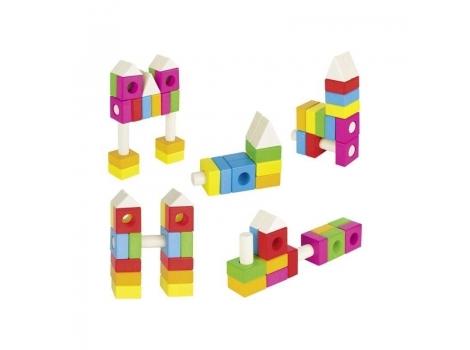 Конструктор деревянный goki Строительные блоки Розовый (58589)