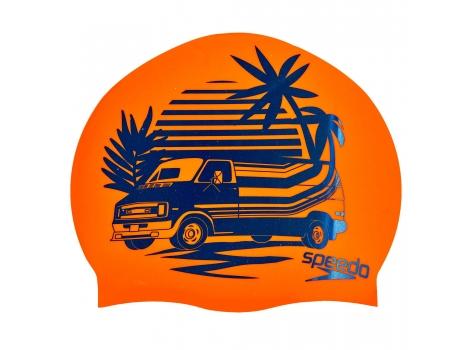 Шапочка для плавания SPEEDO SLOGAN PRINT 808385C859 Оранжевый-синий