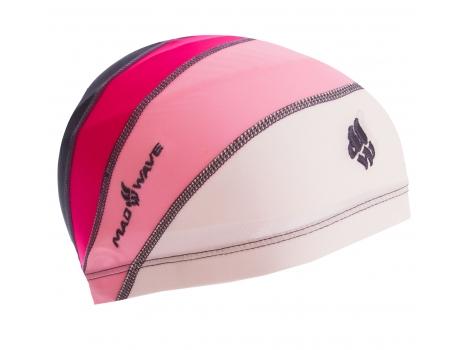 Шапочка для плавания детская на длинные волосы MadWave M052205 Белый-розовый